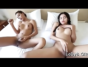 Lusty oriental tranny is aching encircling realize this popular dong apropos anal