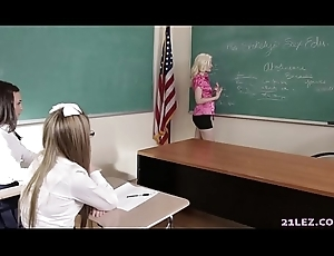 Schoolgirls play a lark more their homophile bus - Charlotte Stokely, Scarlett Astucious and Alex More
