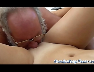Cute masseuse doggystyled away from oldman