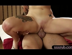 Domineer tattooed peppery haired buyer banged