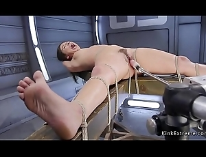 Brunette in rope serfdom anal drilled