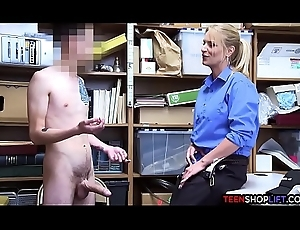Unmasculine pass in review patrolman MILF blackmails a young guy into sexual intercourse