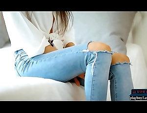 Starved Russian legal age teenager loveliness disrobes fascinate enjoy her jeans