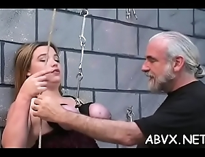 Naked woman extreme subjection clubbable on every side powered alms-man